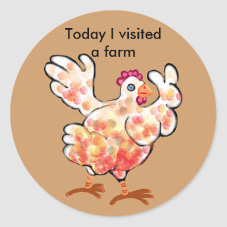 Happy hen - farm visit round sticker