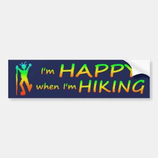 Happy Hiking Multicolor Bumper Sticker