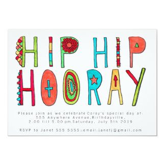 Happy Hip Hip Hooray Birthday Party Invite