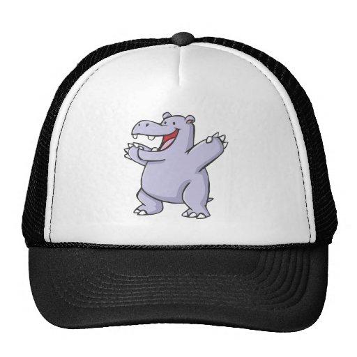 Happy Hippo Cartoon Trucker Hat