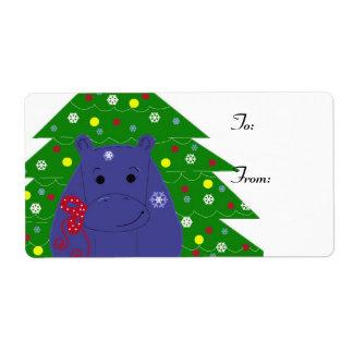 Happy Hippo Christmas Design Shipping Label