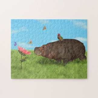 Happy Hippo, Flower, Butterflies Jigsaw Puzzle
