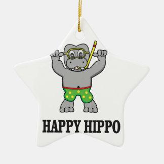 happy hippo water ceramic star decoration
