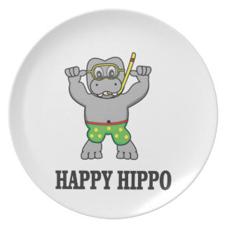 happy hippo water plate