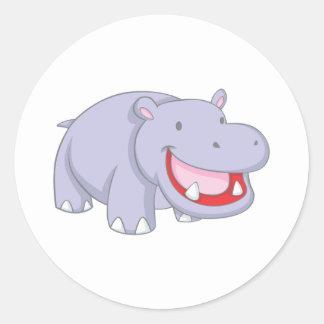 Happy Hippopotamus Classic Round Sticker