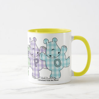 Happy Hippos pastel gingham Mug