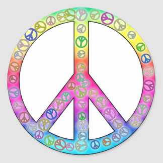 Happy Hippy Color Peace Sign Sticker