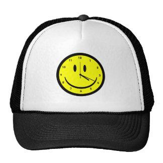 Happy Hippy face clock Mesh Hat