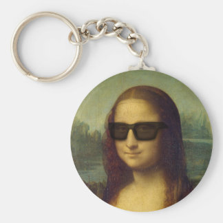 Happy Hipster Mona Lisa Shades Leonardo da Vinci Key Ring