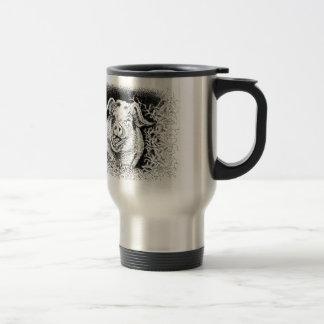 happy hog animal drawing travel mug
