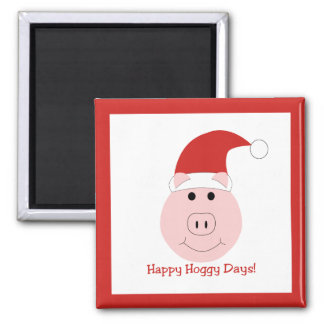 Happy Hoggy Days Holiday magnet square