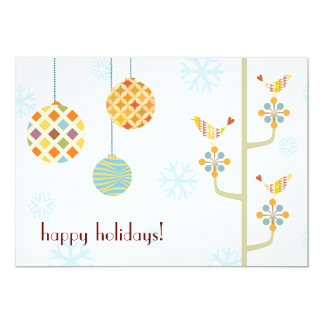"""Happy Hoiday Love Birds Flat Holiday Card 5"""" X 7"""" Invitation Card"""