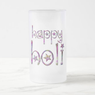 Happy Holi Hindu Spring Festival of Colors Frosted Glass Beer Mug