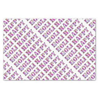 Happy Holi Typography Pattern Pink Colorful Tissue Paper