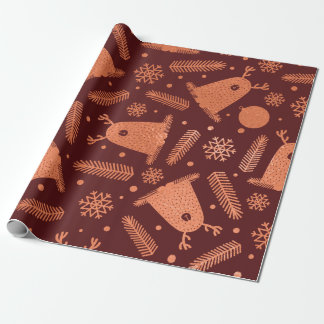 Happy Holiday Alien Reindeer Copper Burgundy  Snow Wrapping Paper