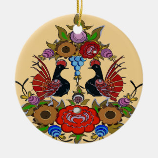 Happy Holiday Birds , Scandinavia Ceramic Ornament