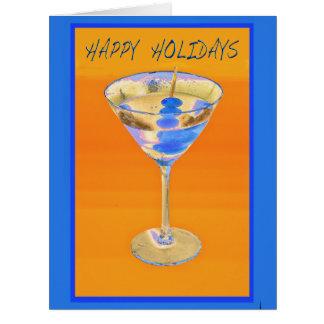 Happy Holiday Blue Martini Card