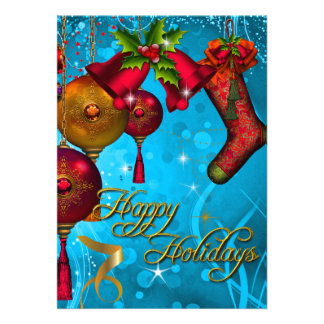 Happy Holiday Card Blue Gold Red Xmas Glitter