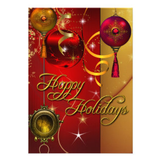Happy Holiday Card Gold Red Xmas Glitter