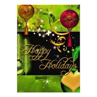 Happy Holiday Card Green Gold Red Xmas Glitter