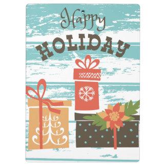 Happy Holiday Christmas Holiday Presents Clipboard