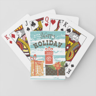 Happy Holiday Christmas Holiday Presents Playing Cards