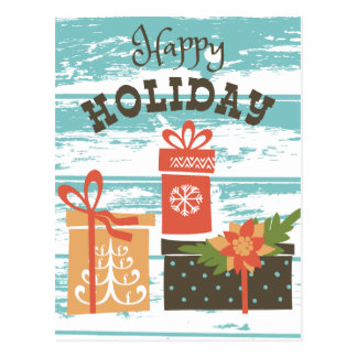 Happy Holiday Christmas Holiday Presents Postcard