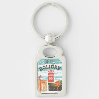 Happy Holiday Christmas Holiday Presents Silver-Colored Rectangle Key Ring