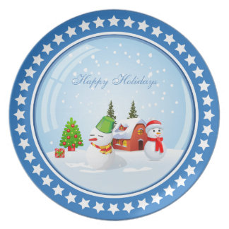 Happy Holiday Christmas Snowball with Cute Snowman Dinner Plates