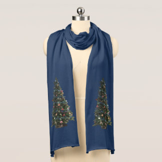 Happy Holiday Christmas Tree accent Navy Blue Scarf