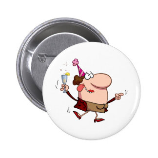 Happy Holiday Dance Lady at New Year s Day Pinback Buttons