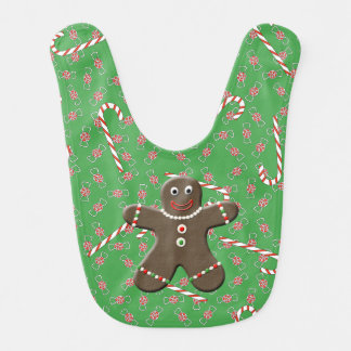 Happy Holiday Gingerbread Man Baby Boy Baby Bibs