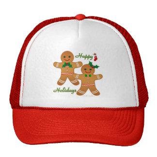 Happy Holiday Gingerbread Man Boy Girl Mesh Hats