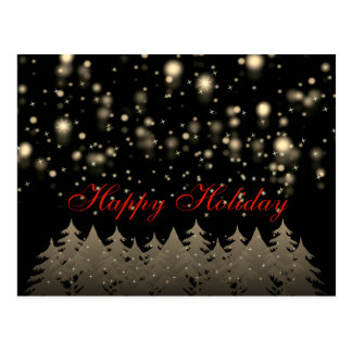 Happy Holiday Gold Starry Night Snowfall Trees Postcard