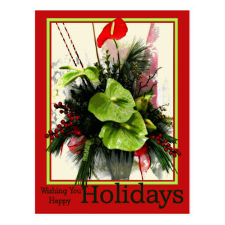 Happy Holiday Green & Red Anthuriums Postcard
