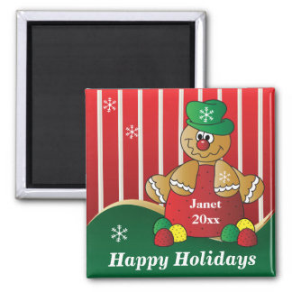 Happy Holiday Gumdrop Gingerbread Man Magnets