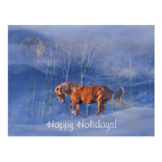 Happy Holiday Horse and Moon In Snow Postcard