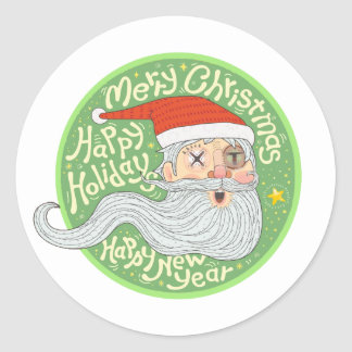 Happy Holiday Merry Christmas New Year Santa Claus Round Sticker