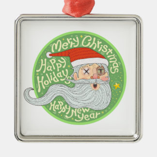 Happy Holiday Merry Christmas New Year Santa Claus Silver-Colored Square Decoration