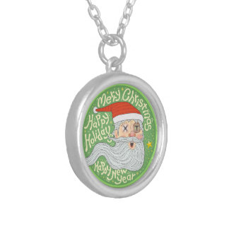 Happy Holiday Merry Christmas New Year Santa Claus Silver Plated Necklace
