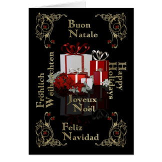 Happy Holiday Multi language business Christmas ca Card