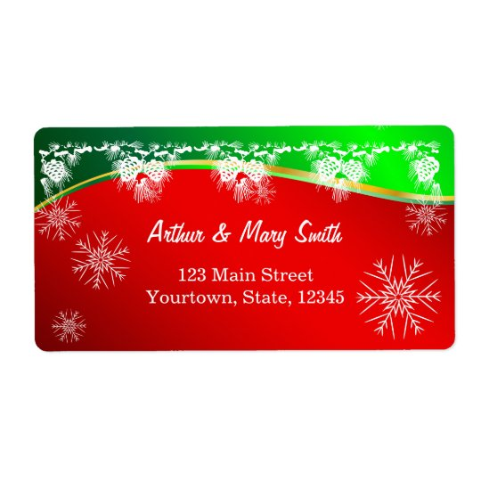Happy holiday on red and green background shipping label