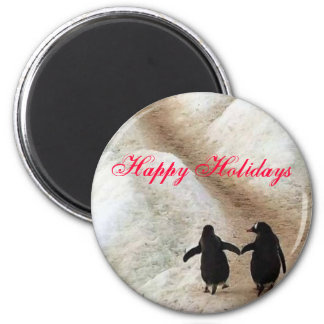 Happy Holiday Penguins 6 Cm Round Magnet