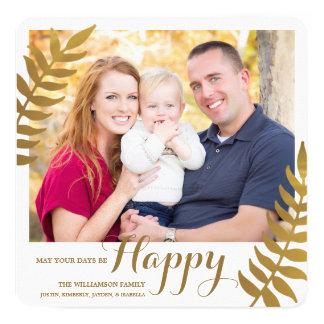 Happy / Holiday Photo Card / Faux Gold Foil 13 Cm X 13 Cm Square Invitation Card