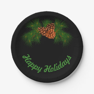 Happy Holiday - pine-cone detail Paper Plate