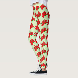 Happy Holiday Poinsettia Leggings