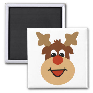 Happy Holiday Reindeer Square Magnet