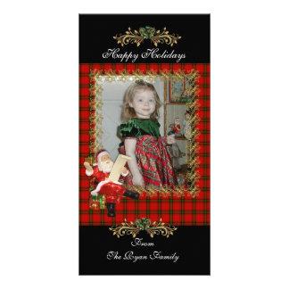 Happy Holiday Santa Plaid Photo Card