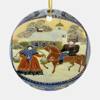 Happy Holiday, Scandinavia Church Ceramic Ornament