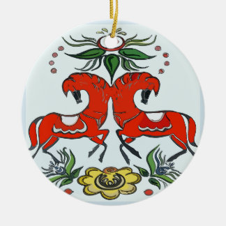Happy Holiday, Scandinavia Horses Ceramic Ornament